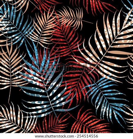 Multicolor palm tree foliage with texture on black background - stock vector
