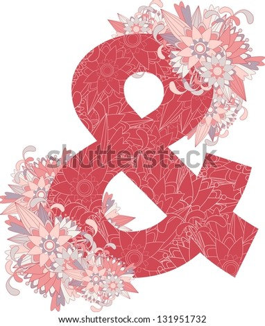 Multicolor patterned and sign with floral elements. Vector illustration - stock vector