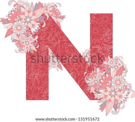 Multicolor patterned letter N with floral elements. Vector illustration - stock vector
