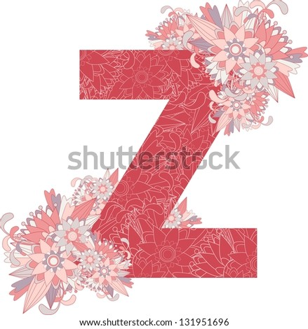 Multicolor patterned letter Z with floral elements. Vector illustration - stock vector