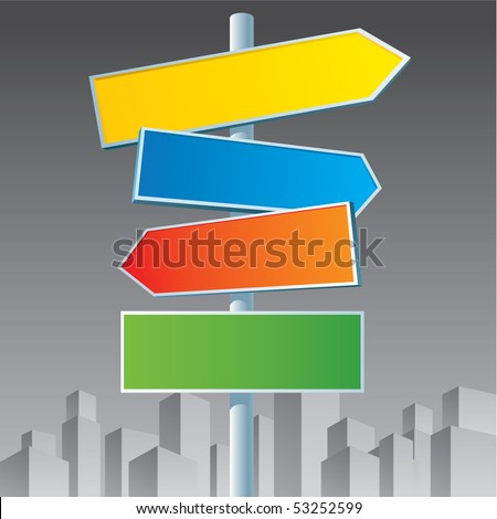 Multicolor roadsigns on black and white city background. - stock vector