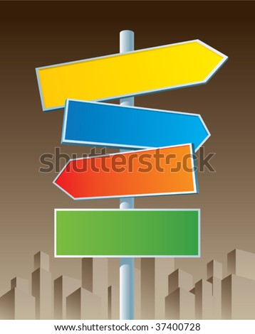 Multicolor roadsigns on sepia city background. - stock vector