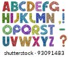 Multicolor scribble alphabet.Vector eps 10 - stock vector