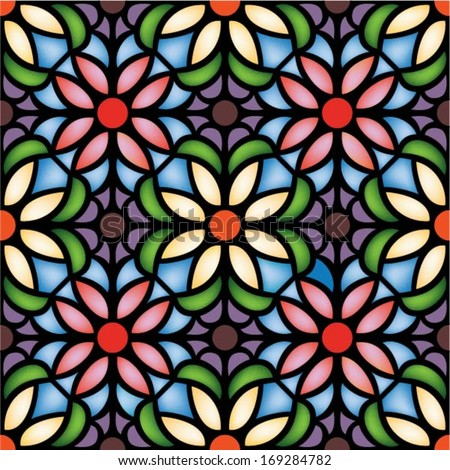 multicolor seamless pattern,vector illustration in stained glass window style - stock vector