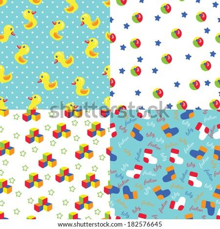 Multicolor Simple Seamless Pattern Set Of Toyspolka Dotsocksstars Unisex