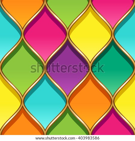 Multicolor stained glass with golden partitions. Seamless geometric pattern for your design - stock vector