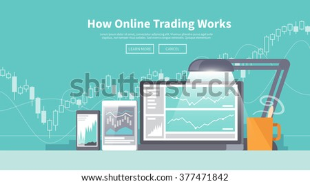 Multicolor stock exchange trading set of web banner. Equity market. World economy major trends. Modern flat design. Forex. - stock vector