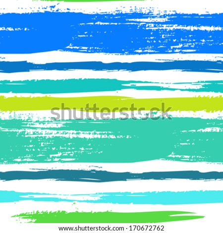 Multicolor striped pattern with horizontal brushed lines in tropical blue green. Texture for web, print, wallpaper, home decor, spring summer fashion fabric, textile, invitation background, gift paper - stock vector