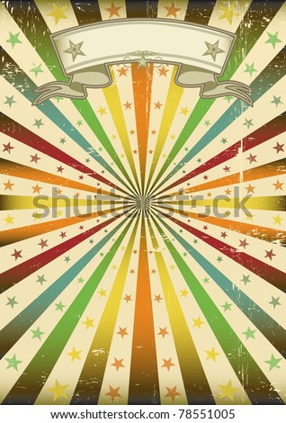 Multicolor Sunbeans grunge poster. A poster with a texture for a party and carnival - stock vector