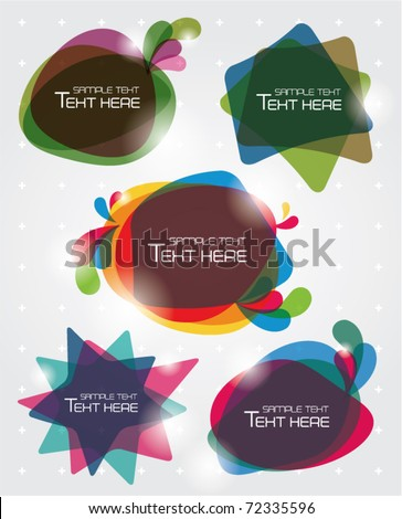 multicolor text box templates design - stock vector