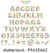 Multicolor text font made of balls for children - stock vector