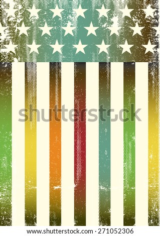 Multicolor textured american flag. An american rainbow color flag for a background of a poster. - stock vector