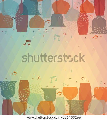 Multicolor transparency cocktail glass design background for menu cover, wine list or salad bar. EPS10 transparent vector file organized in layers for easy editing. - stock vector