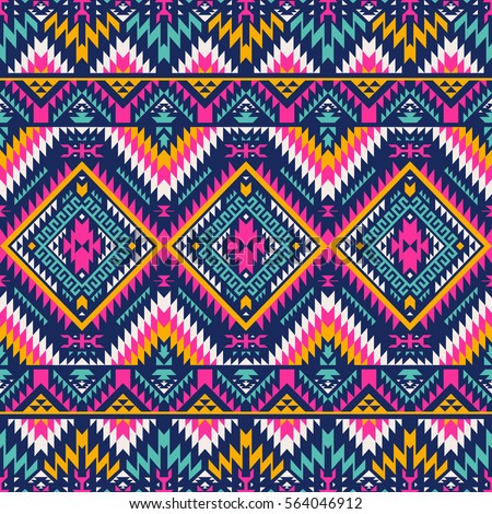 Multicolor Tribal Vector Seamless Navajo Pattern Aztec Abstract Geometric Art Print Ethnic Hipster