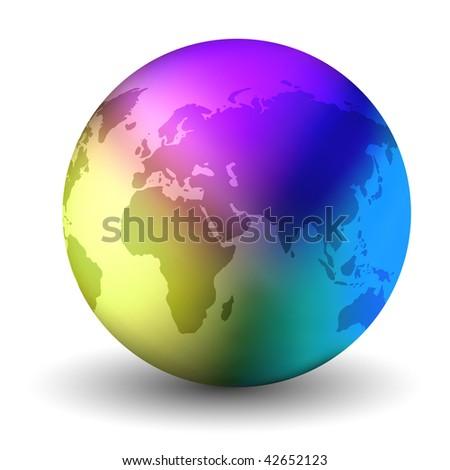 Multicolor Vector Earth Globe - stock vector