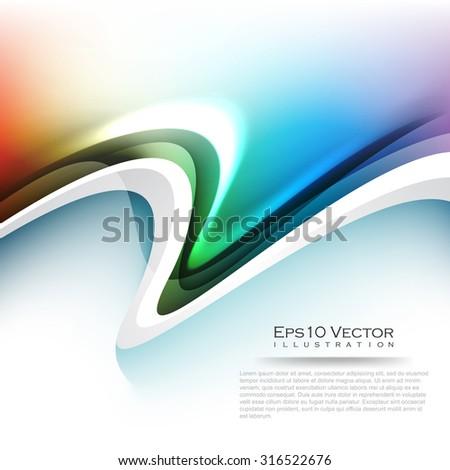 multicolor wave elements bent lines advertisement brochure leaflet business background illustration eps10 vector - stock vector