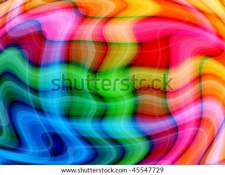 Multicolor Waves Background ( VECTOR - NO TRANSPARENCIES ) - stock vector