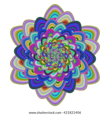 Multicolored abstract floral fractal digital art design - stock vector