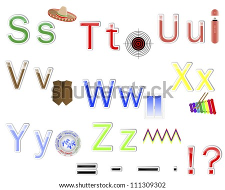 """Multicolored alphabet stickers with cute pictures. letter from """"S"""" to """"Z"""". 10 EPS. Vector illustration. - stock vector"""
