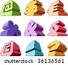 Multicolored alphabet: symbols. Vector illustration. - stock vector