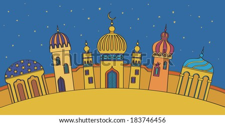 Multicolored Arabic city with character Islam buildings - stock vector