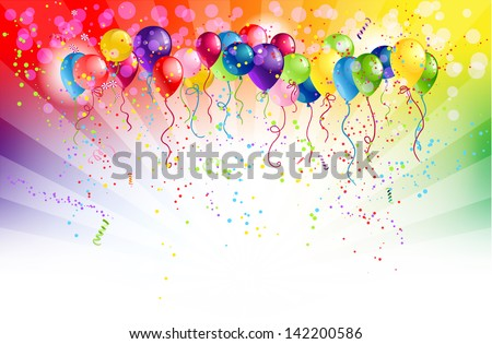 Multicolored background and balloons with space for text - stock vector