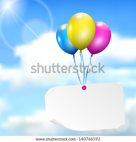 Multicolored balloons with paper card on sky background with sun, and clouds - stock vector