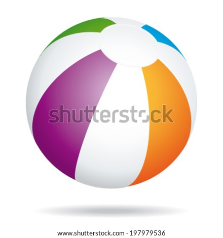 Multicolored beach ball. Holidays summer vector icon.