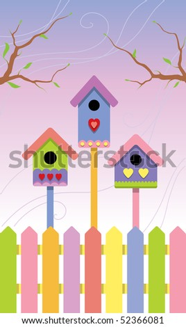 Multicolored birdhouses on spring background. Vector Illustration. - stock vector