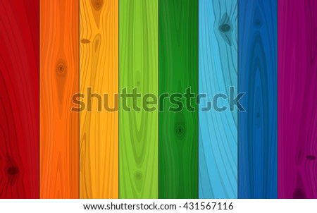 Multicolored Boards In Colors Of Rainbow Wood Texture Background. - stock vector