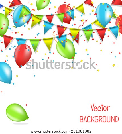 Multicolored bright buntings garlands with confetti and air balls isolated on white background - stock vector