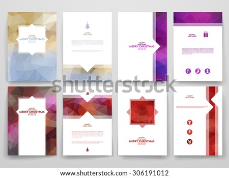 Multicolored brochures template in trendy style on Merry Christmas and Happy New Year theme. Vector poligonal design. - stock vector