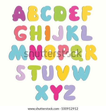 Multicolored Cartoon Vector Font - stock vector