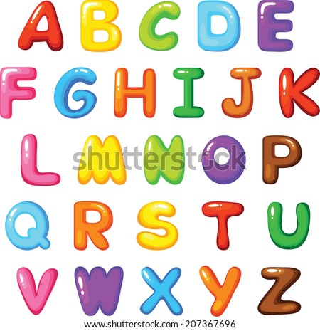 Multicolored Cartoon Vector Font - stock vector