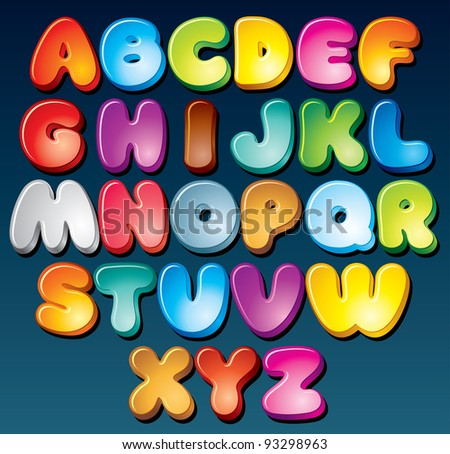 Multicolored Cartoon Vector Font, Set of Isolated Symbols for your Design