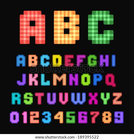 Multicolored children's pixel font isolated on black background. - stock vector