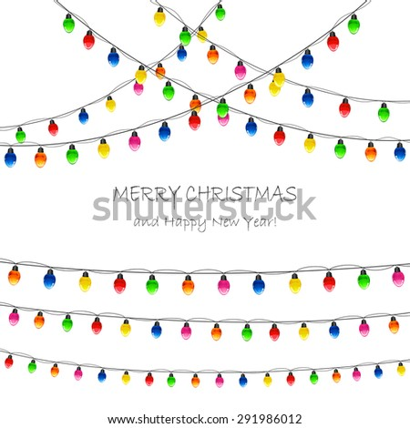 Multicolored Christmas lights on white background, illustration. - stock vector