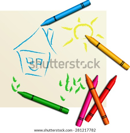 Multicolored cute children's drawing - stock vector
