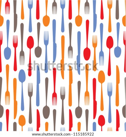 Multicolored cutlery icons background - stock vector