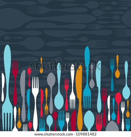 Multicolored cutlery icons pattern background. Vector illustration layered for easy manipulation and custom coloring. - stock vector