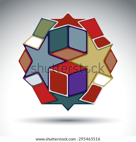 Multicolored 3d geometric figure constructed from cubes, rectangles and stars. Vector abstract design object isolated on white background. - stock vector