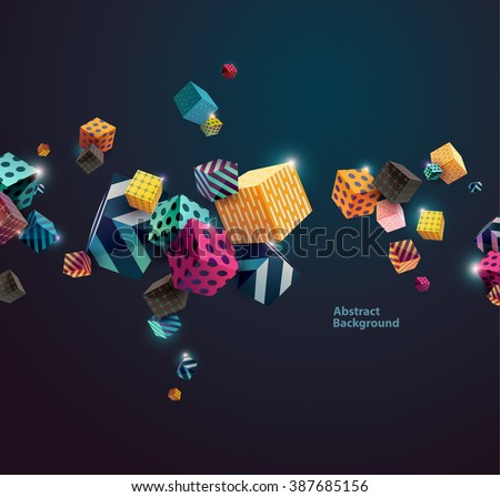 Multicolored decorative cubes. Abstract vector illustration.  - stock vector
