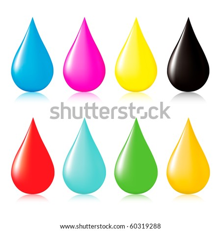 Multicolored drops with reflection. Vector illustration.