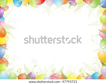 multicolored easter frame with eggs green foliage and copyspace for your text