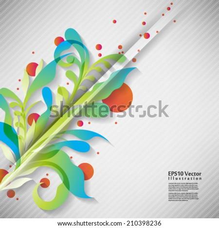 multicolored entangled stem and leaf foliage elements illustration. eps10 vector format - stock vector