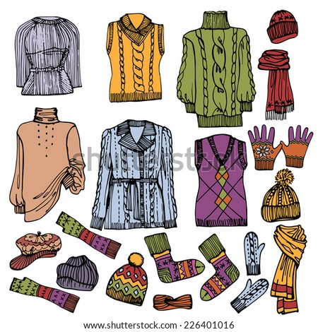 Multicolored Fashionable female knitted  clothing and accessories set on Sketchy style.Autumn ,winter,spring woman wear.Fashion illustrations.Vector. - stock vector