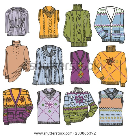 Multicolored Fashionable knitted  clothing  set on Sketchy style.Autumn ,winter,spring  wear.Fashion illustrations.Vector. - stock vector