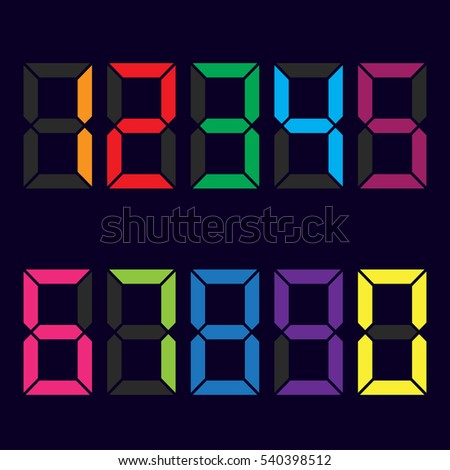 multicolored figures. colors of rainbow . e-numbers. vector illustration