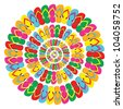 Multicolored flip flops mandala isolated over white background. Vector file layered for easy manipulation and custom coloring. - stock vector