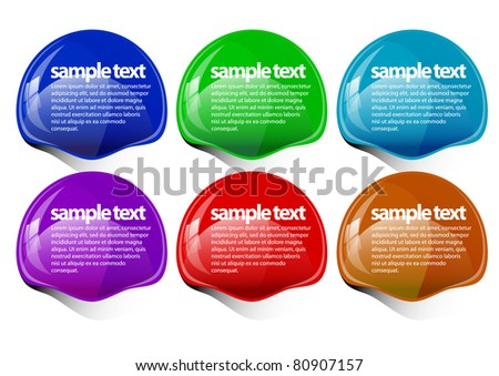 multicolored glossy label with a transparent shadow